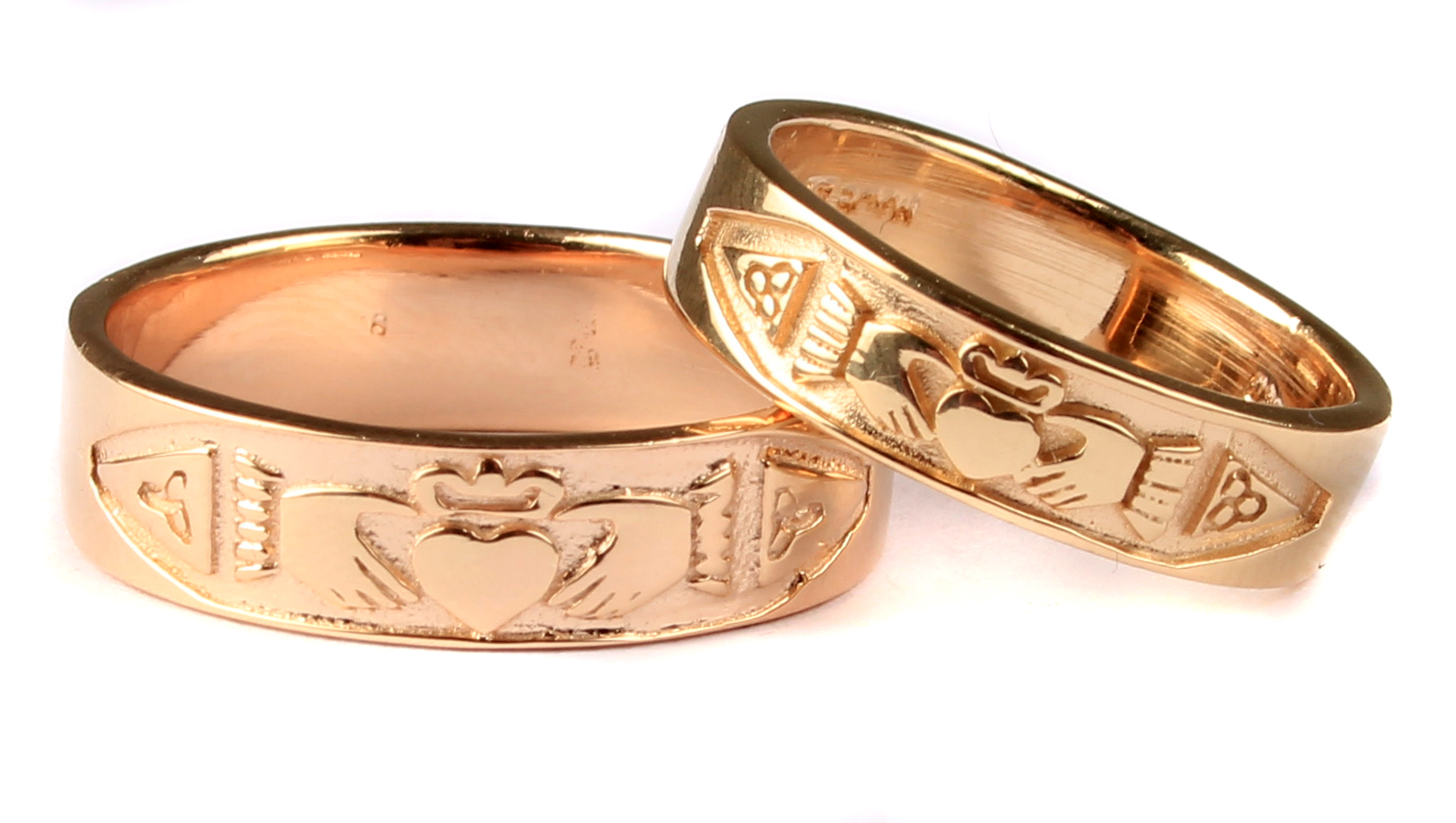 Irish 9 Ct Yellow Gold Claddagh Wedding Ring Set.