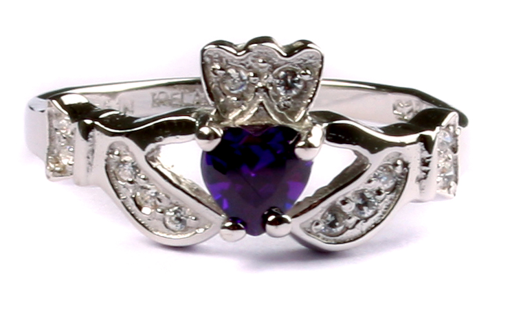 52c9ef6250ac9 SterlingSilver 925 Claddagh Ring with Amethyst Cubic Zirconia February  Month BirthStone