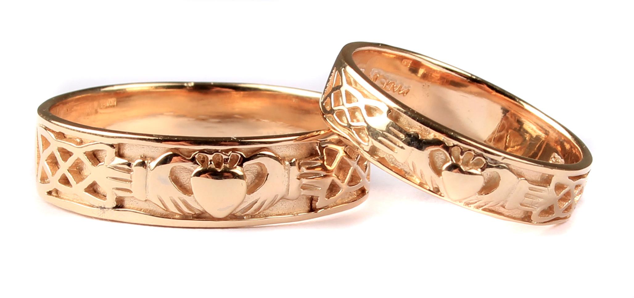 Irish 9 Ct Yellow Gold Claddagh Wedding Ring Set