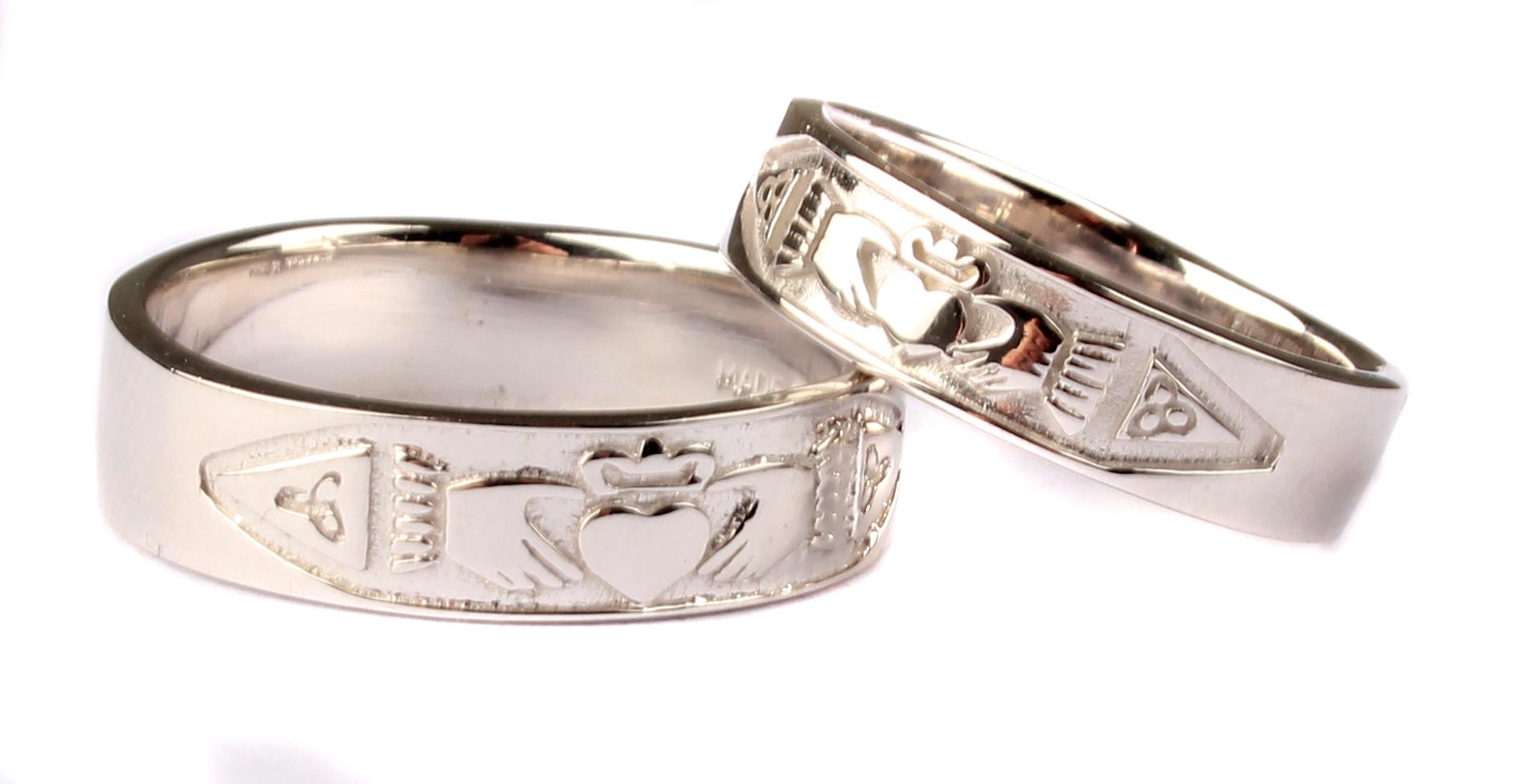 Irish 9 Ct White Gold Claddagh Wedding Ring Set